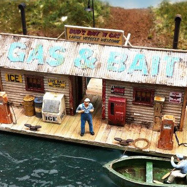 HO-SCALE BUD'S BAIT 'N GAS DOCK