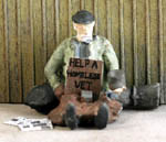 O-SCALE HOMELESS MAN WITH COIN CAN