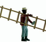 O-SCALE WORKMAN CARRYING A LADDER