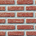 O-SCALE RESIDENTIAL RED BRICK W/MORTAR 15½