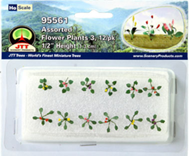 HO-SCALE ASSORTED FLOWER PLANTS SET #3 / 12PK