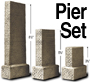 H0 GRAY BLOCK PIERs (3-SIZE SET)