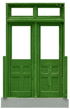 DOUBLE PANEL DOOR WITH TRANSOM & STOOP