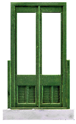 O-SCALE DOUBLE PANEL WINDOW SHOP DOOR WITH STOOP